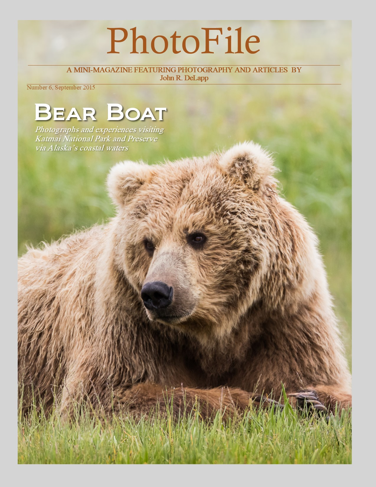 "- Bear BoatThis issue of PhotoFile is devoted to a fly-in trip to a remote portion of Katmai National Park located on Alaska's mountainous coast across Shelikof Straight from Kodiak Island.  Coastal Outfitters' boat, a 72-foot vessel named ""Breezers"", is anchored at Hallo Bay ready for visitors arriving via float planes from Kodiak. Breezers is the visitors' ""bear boat""  wilderness home for the next several days.  Included here is an account of this wilderness adventure along with many amazing images made during this trip in July of 2015."