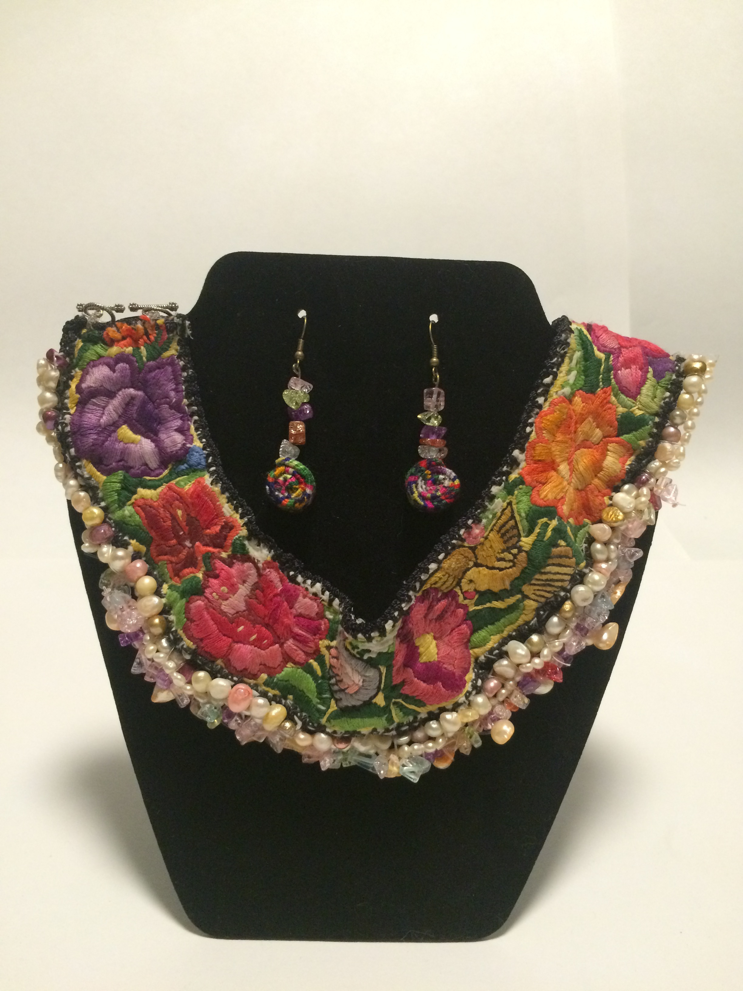 Huipil Collar Necklace and Earrings