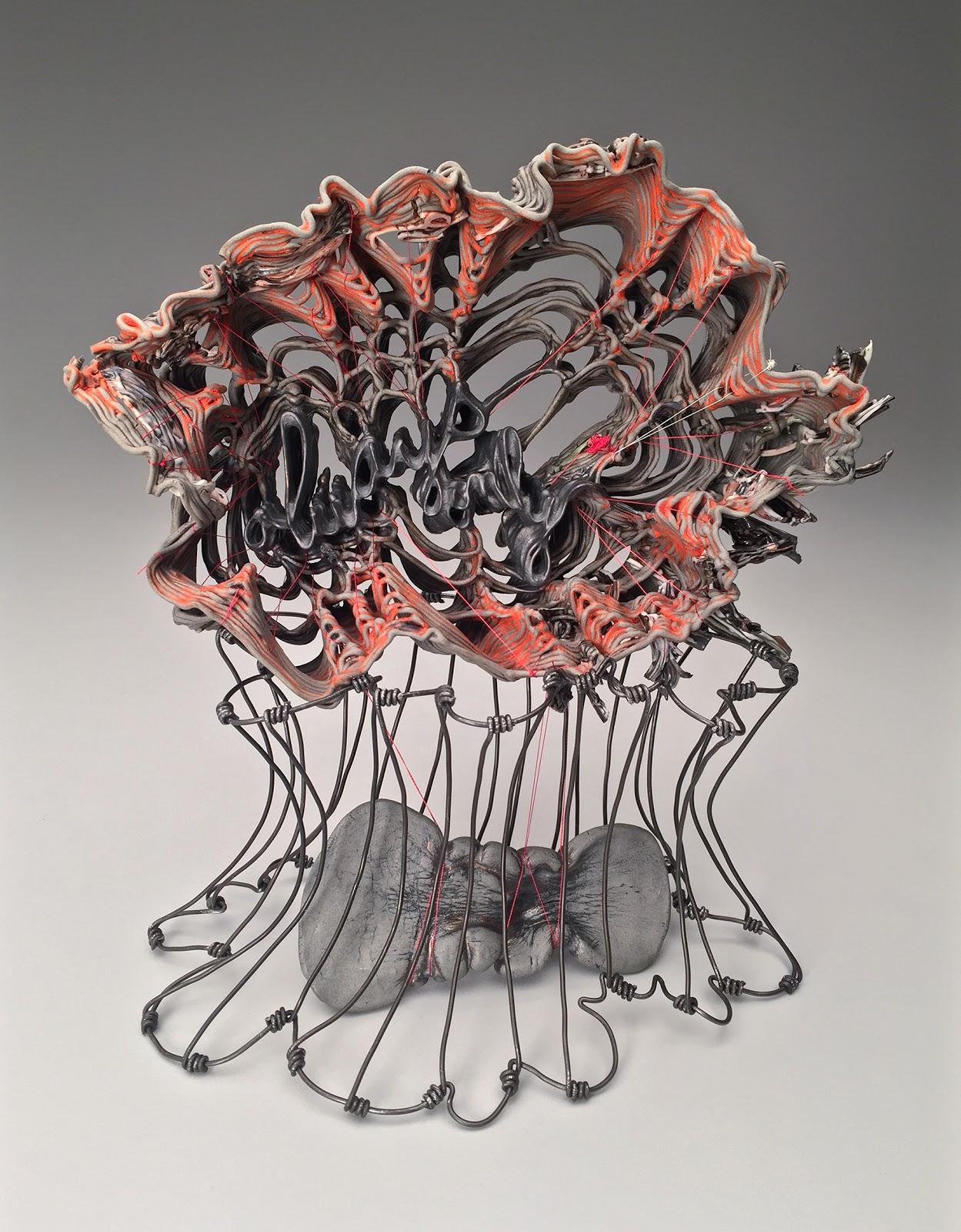 Stephanie Lanter Always On (2017) Porcelain, glaze, thread, and wire, 11 x 12 x 5 in., courtesy of artist