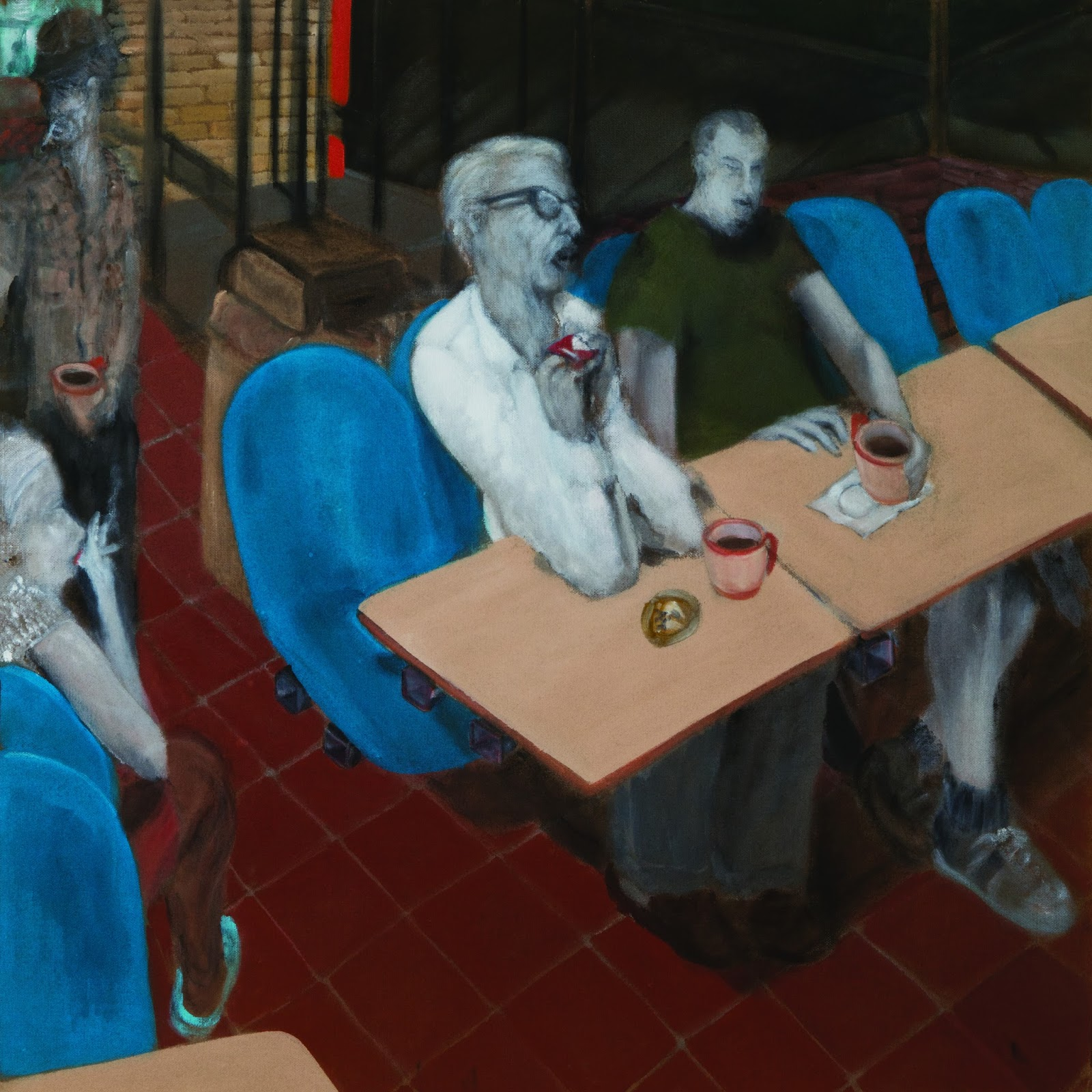 Mike Hartung, Coffee Drinkers at Hardee's , early 1990s, acrylic on Masonite, 48 x 48 in., courtesy of the artist