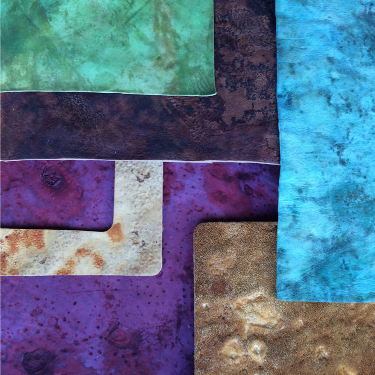 Mycelium-derived leather stained with various dyes. Credit: MycoWorks.