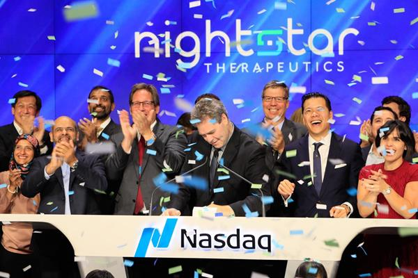 Nightstar celebrates its IPO at the Nasdaq Market Site in Times Square, New York, September 2017, Credit: Globe Newswire