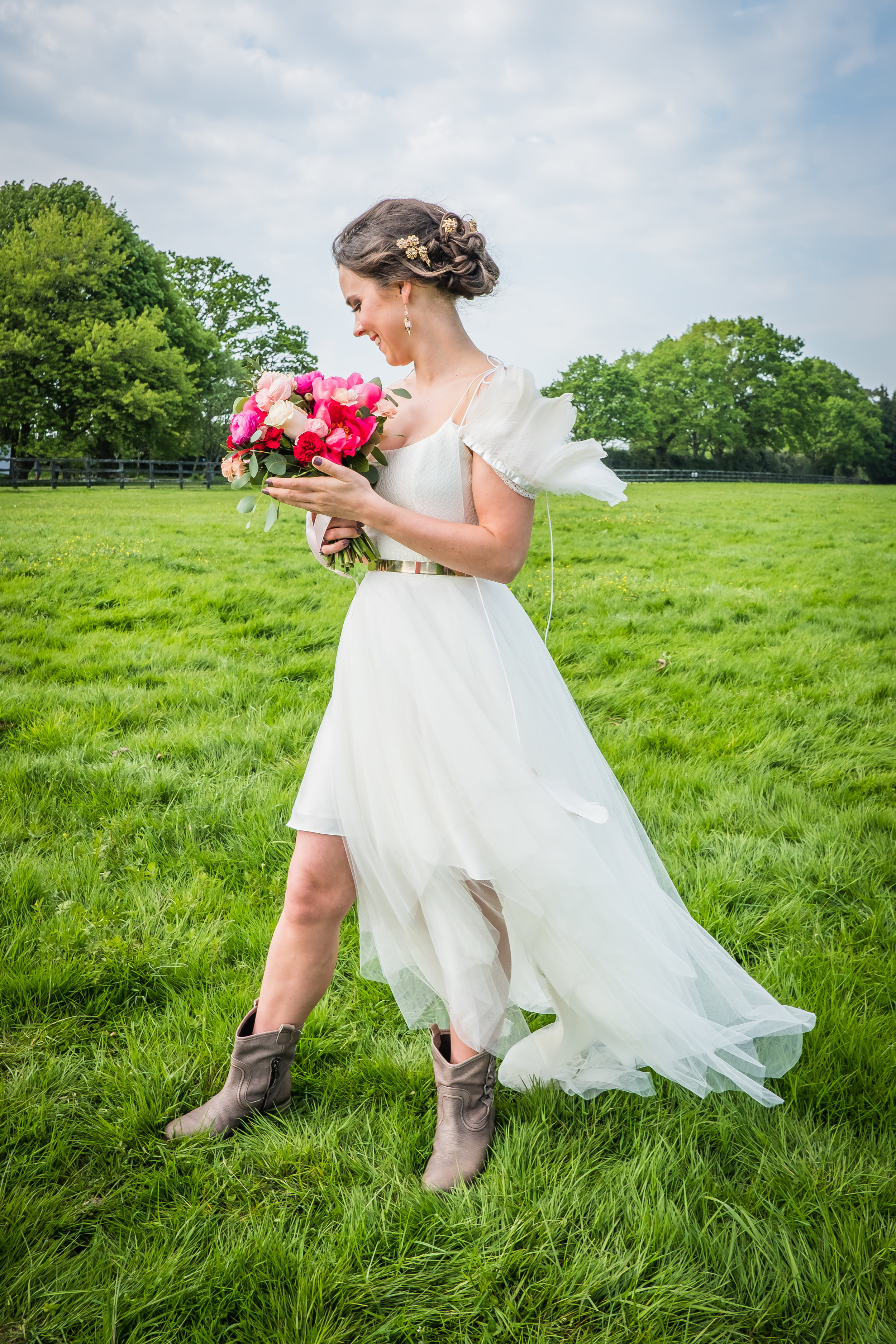 Lesley Burdett Photography ,  Frey de Paoli  make up,  Gemma Louise Bridal  hairstyling,  Nortier Shallow  dress,  Catriona  Model,  Fiesta Fields  Venue,  Emma Shoe  Bride Styling