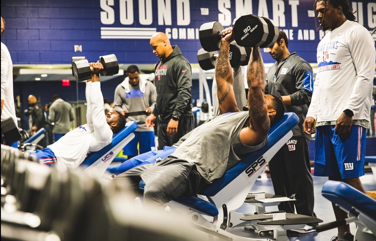 At the New York Giants first day of off-season training
