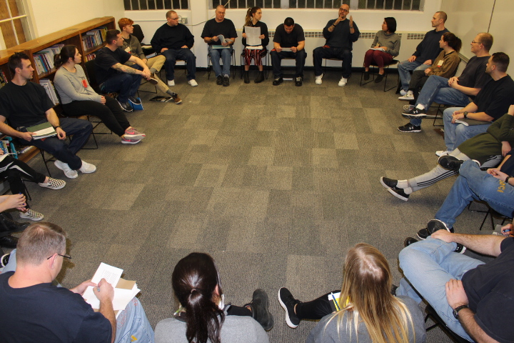 A discussion circle at the Oregon State Correctional Institution