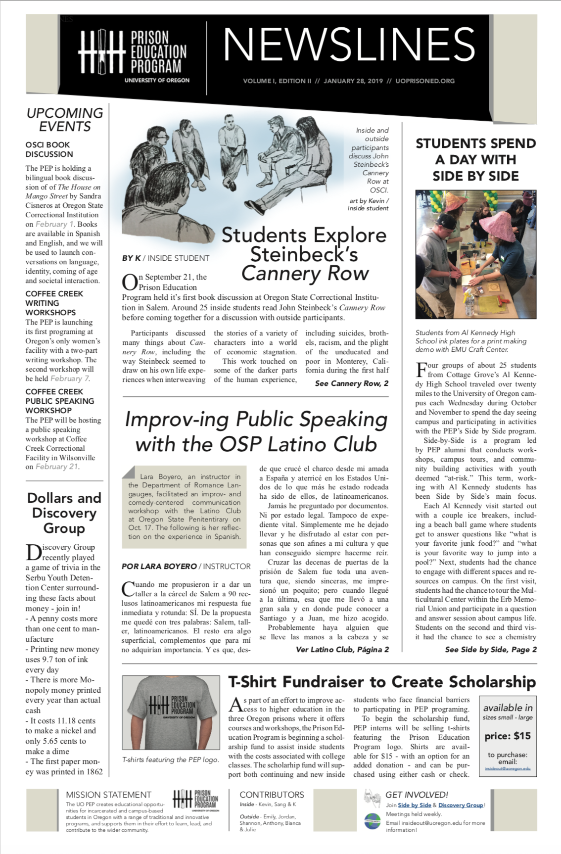 PEP Newsletter January 2019 page 1