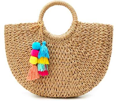 straw tote with pom poms -