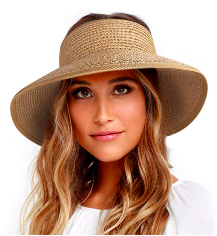 wide brim straw visor - packable and foldable -