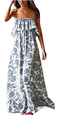 blue & white maxi dress -