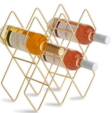 gold geometric wine holder -