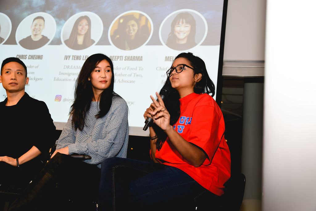 Rock The Boat     January 15 2019  Panel  Chris Cheung, Co-founder of Boxed.com  Deepti Sharma, Founder of Food to Eat  Melinda Lee, Chief Content Officer at Buzzfeed  Ivy Teng Lei, Director of Client Strategy at Thesis, DACA Recipient, and Education / Immigration Advocate
