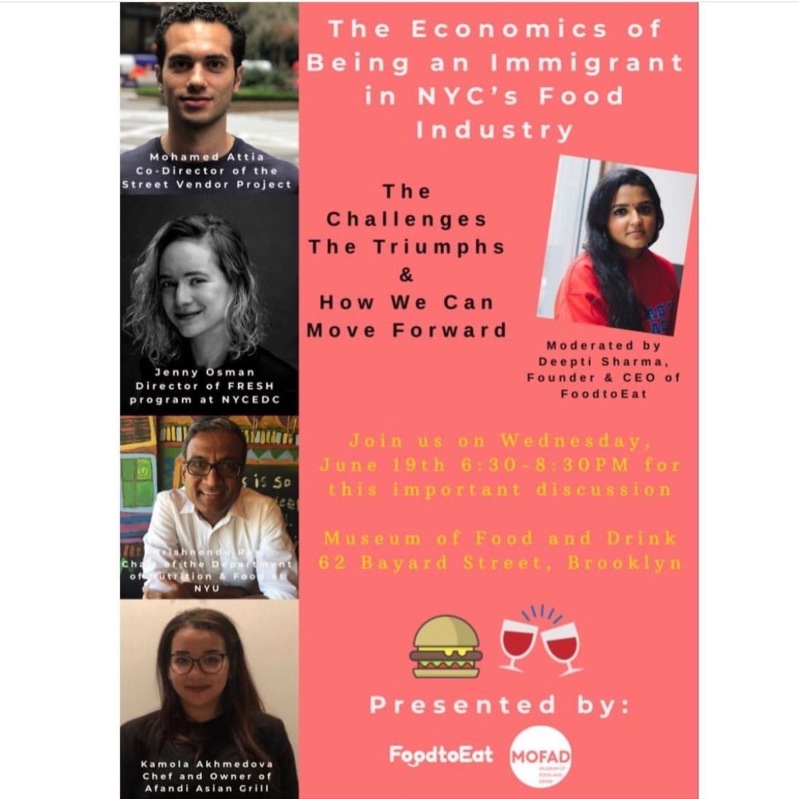The Economics of Being an Immigrant in NYC's Food Industry     June 29, 2019  Moderator