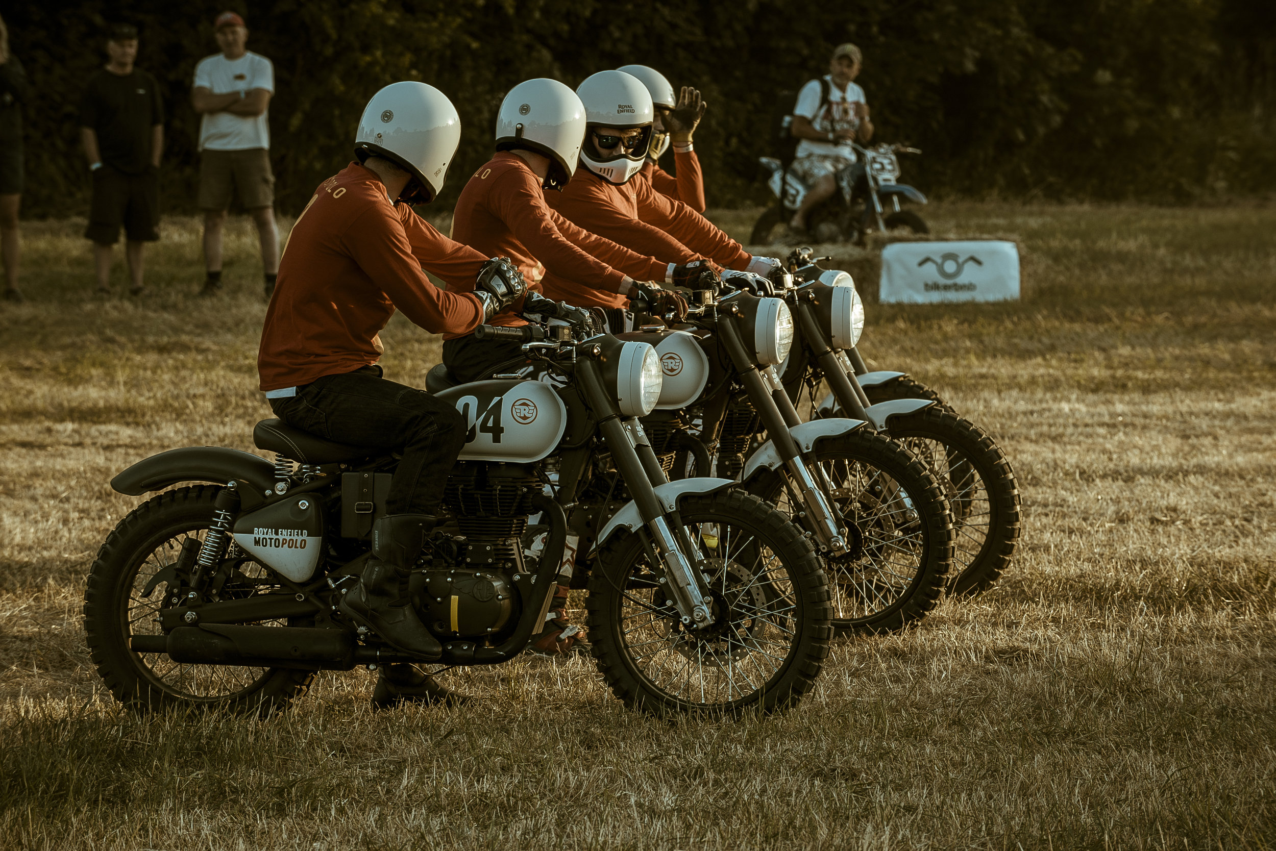 The Royal Enfield motopolo team lined up.
