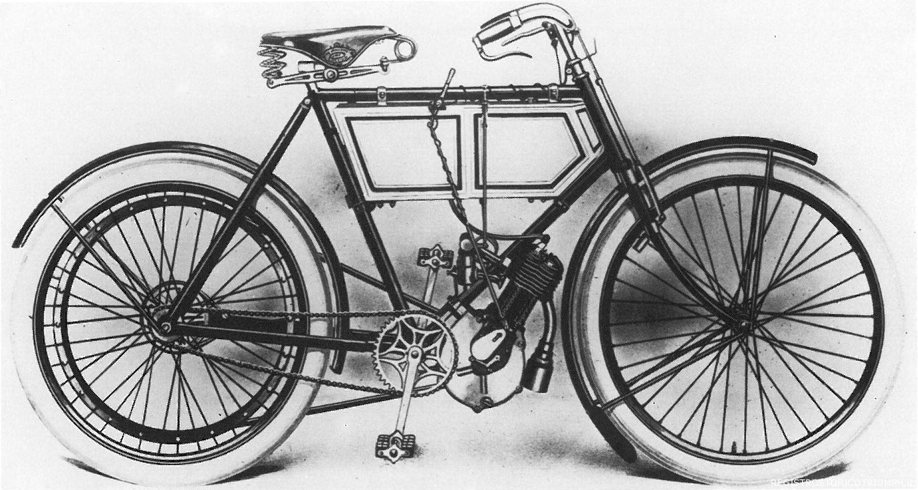 The very first Triumph motorcycle, with its Minerva engine, making a whole 2hp.