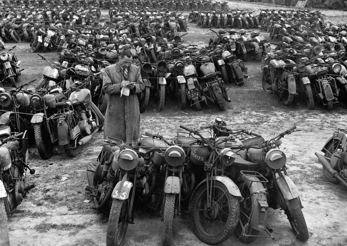 British motorcycles grouped into fives and sold for scrap after the war.