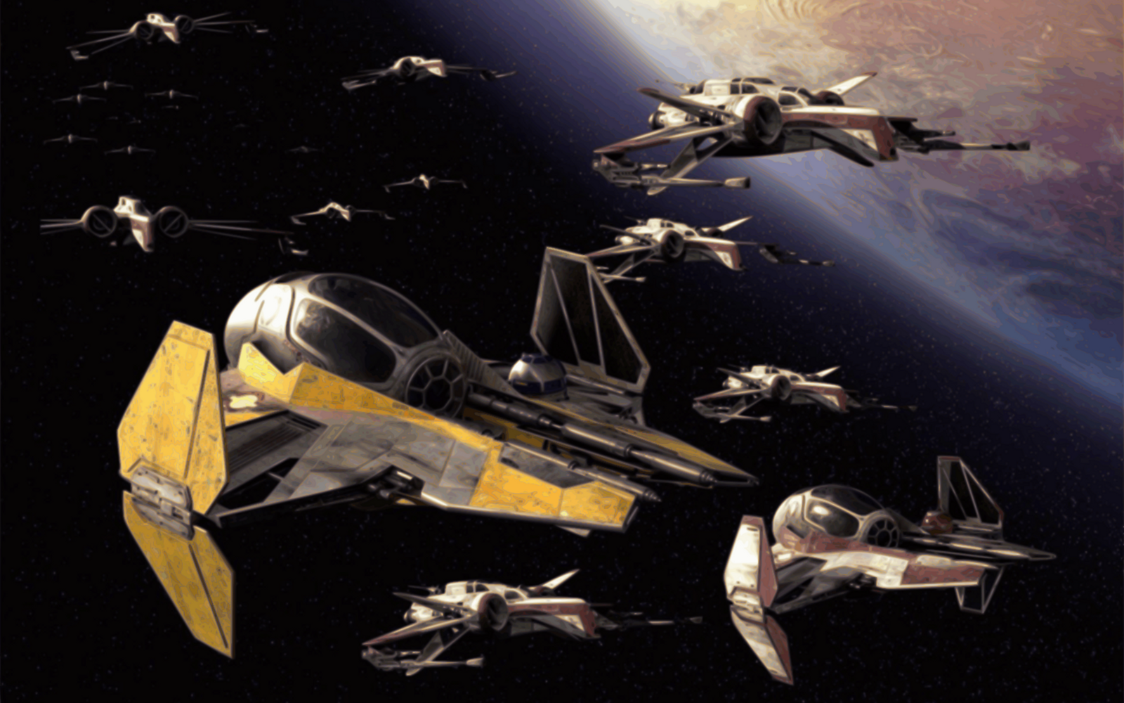 A Republic flight formation headed by Anakin (old melty face).
