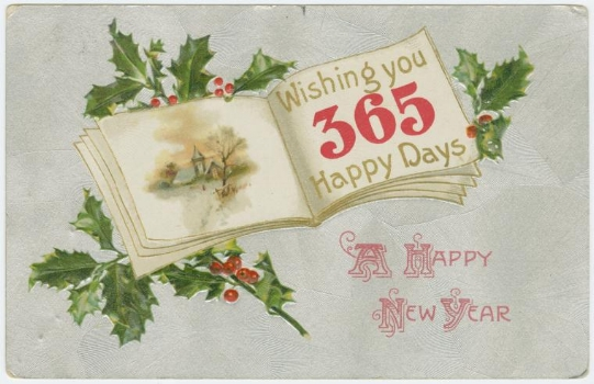 """A happy New Year."" New York Public Library Digital Collections."
