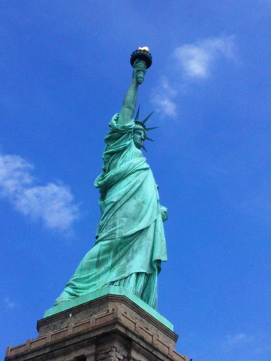 """Many people mistake the enormousness of Lady Liberty for """"enormity."""" (Photo by Nina Fazzi, 2015)"""