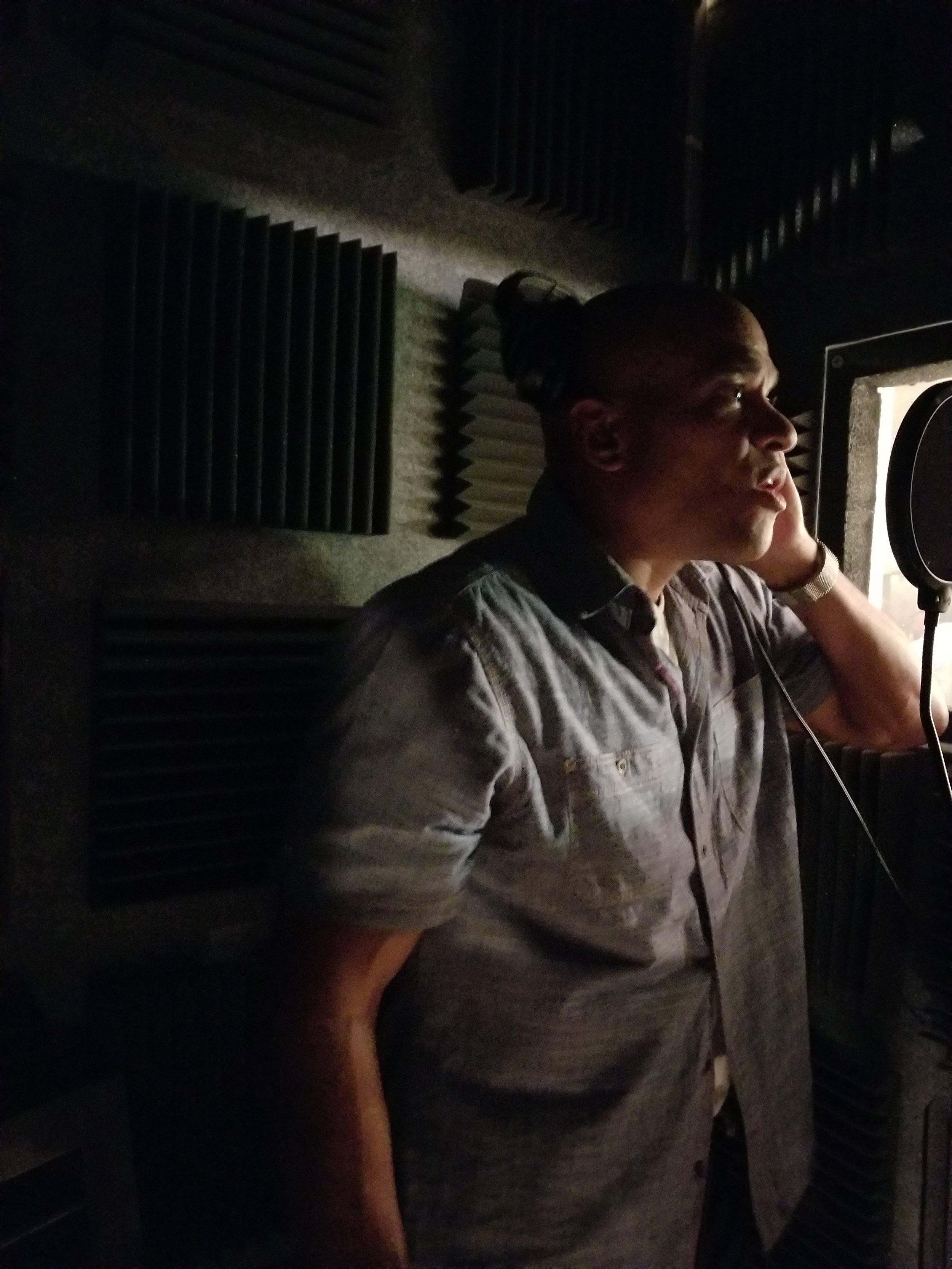 "2nd Tenor Darren Greene in the booth laying down vocals for  ""My Faith Looks Up To Thee""."