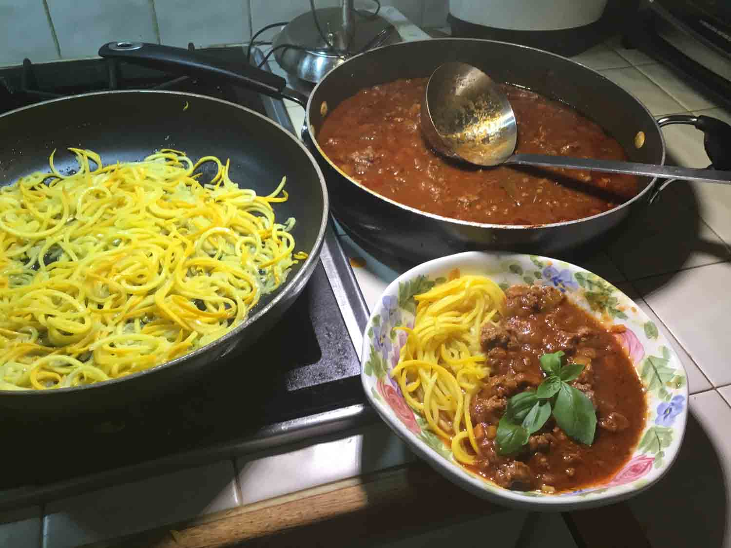 "GrannyKeto's Ragù Bolognese, shown with zucchini noodles (""zoodles""), — a perfect Keto accompaniment"