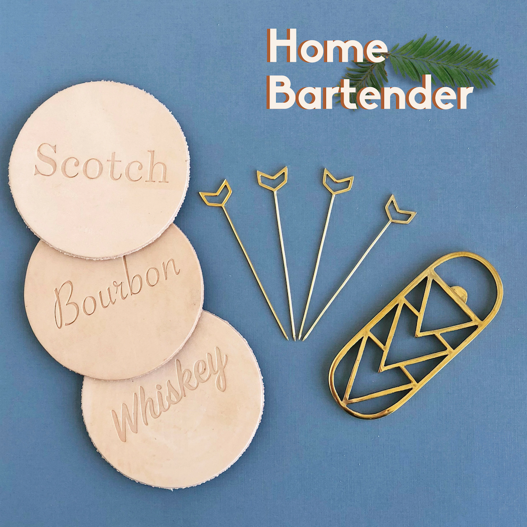 Home Bartender, leather coasters, cocktail picks, and bottle opener