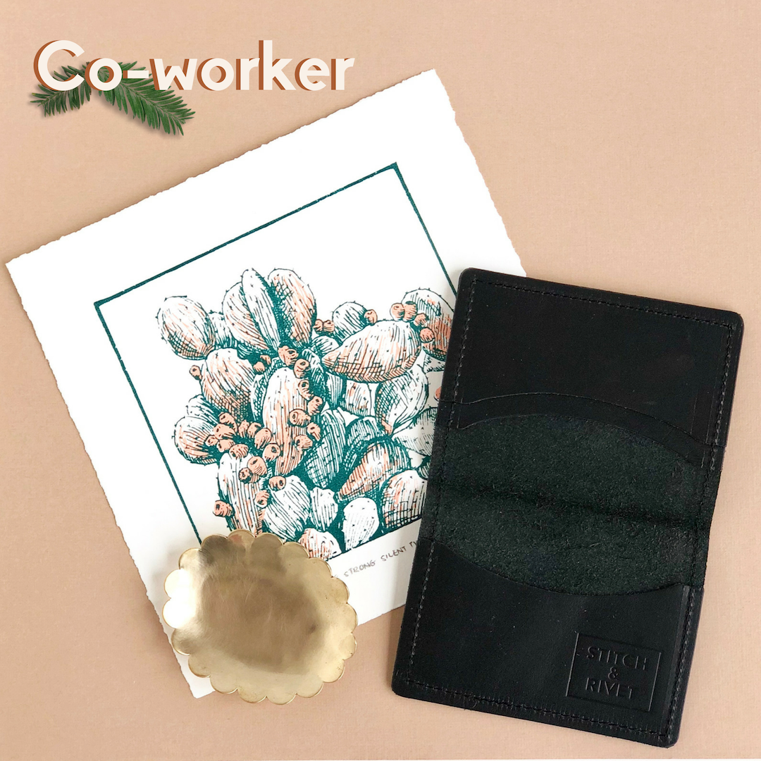 Co-worker: Cactus print, black leather wallet, jewelry dish.
