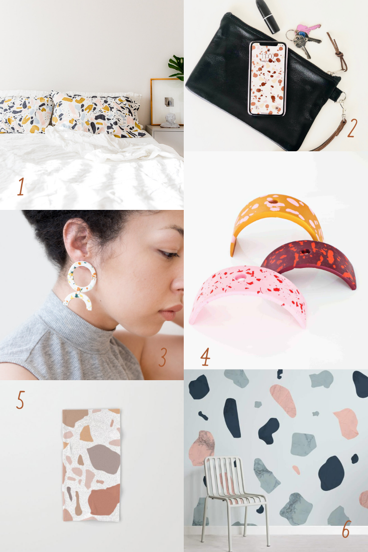 Terrazzo pillowcases, bath towels, statement earrings, incense holder, phone background, and wallpaper.