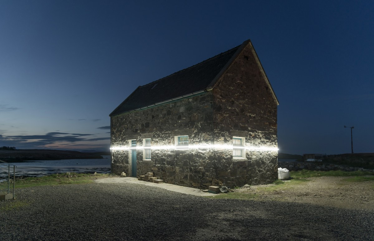 A Light Installation in a Scottish Coastal Town Vividly Shows Future Sea Level Rise