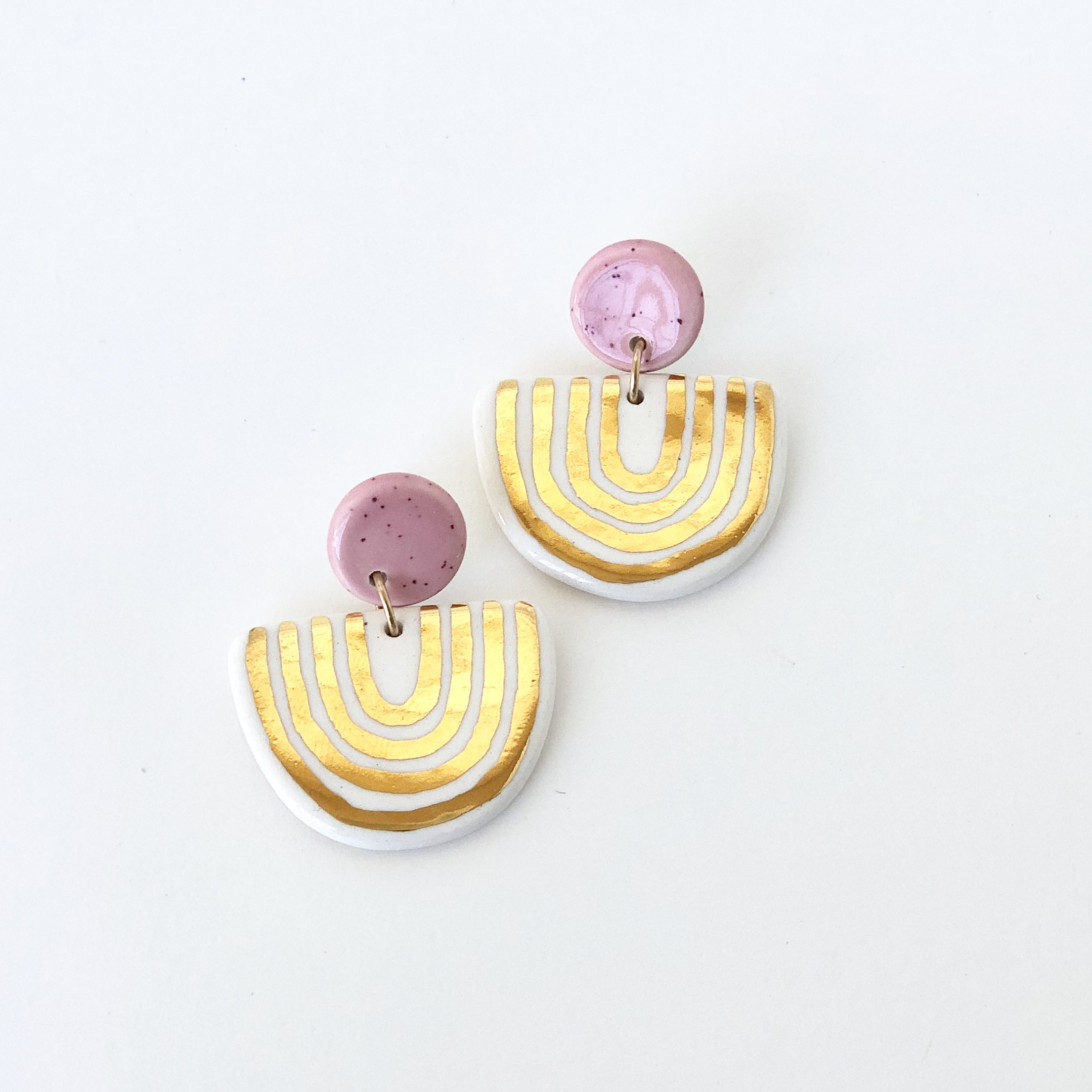 Pink and U Shaped Statement Earrings by Quiet Clementine.