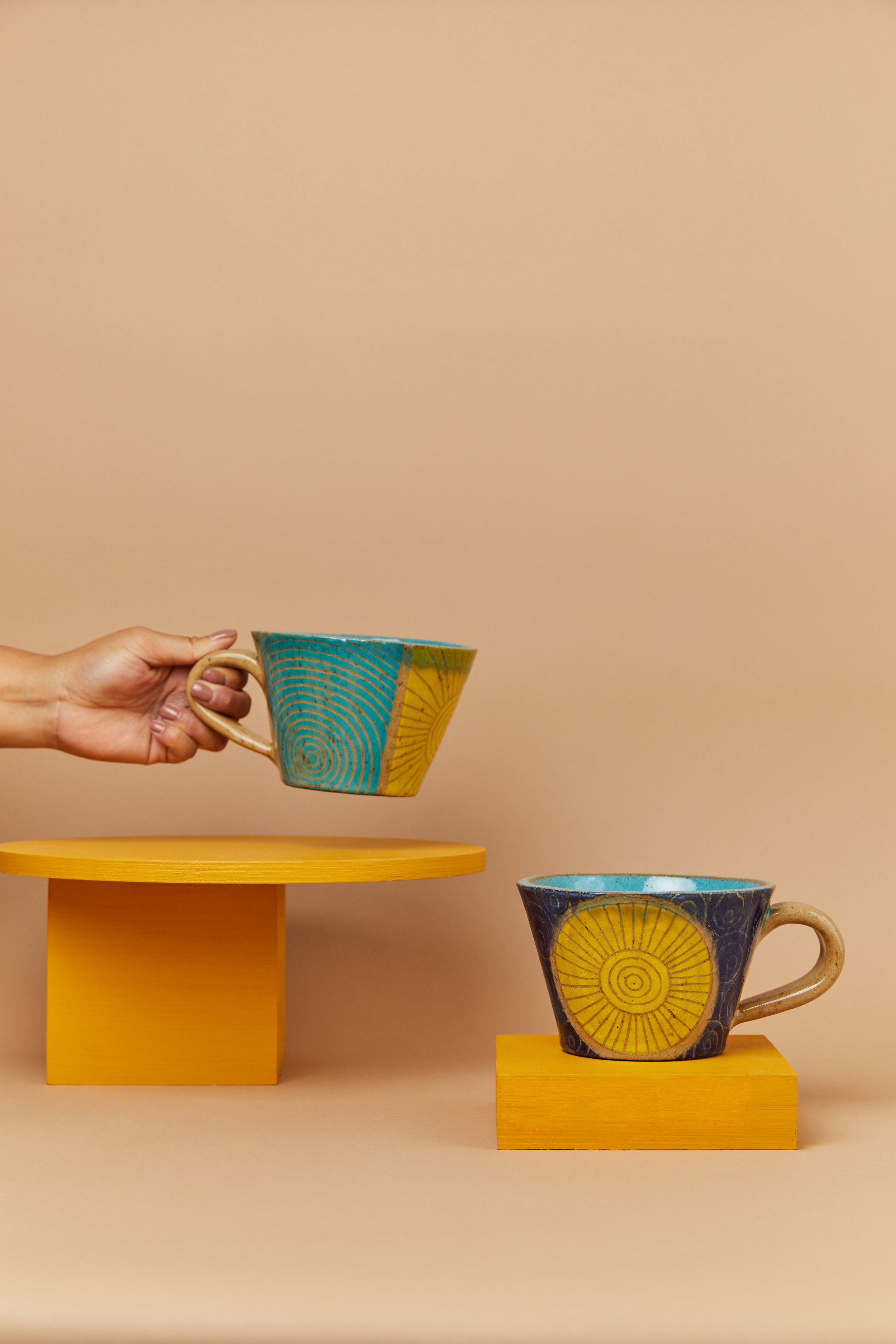 Blue soup mugs by Threet Ceramics.