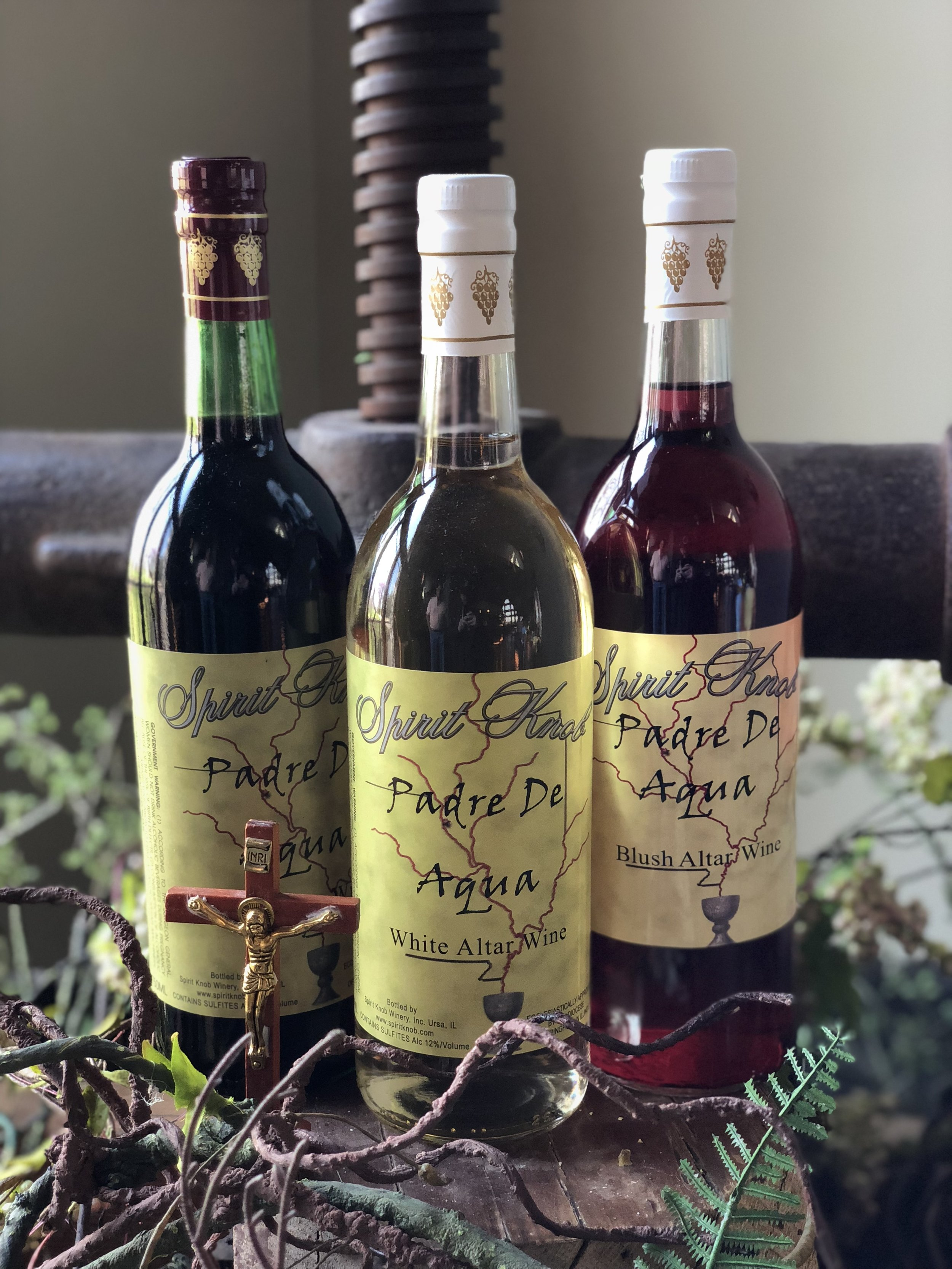 Sacramental Wine - Ecclesiastically approved by the Catholic diocese of Springfield Illinois. Contact Spirit Knob Winery directly for more information.