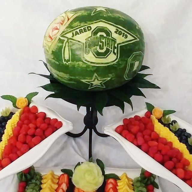 Graduation parties are in fill swing! Congrats Jared! 🎓🎊 #graduate #classof2019 #congratulations #osu #ohiostate #carving #watermelon #fruitdisplays #freshfruit #meloncarvings #graduation