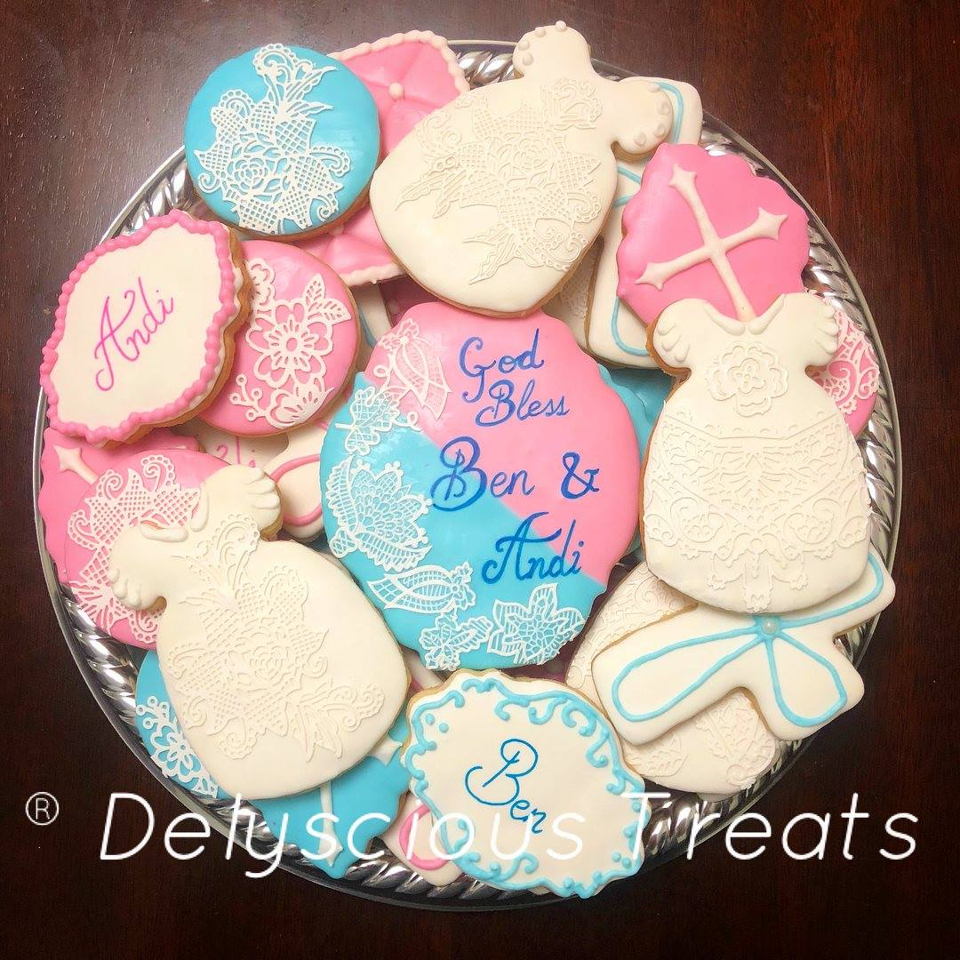 christening cookie platter