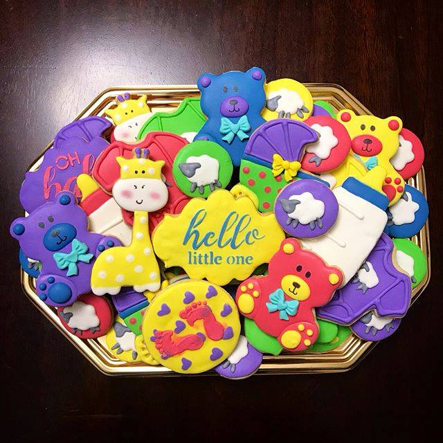 bright baby shower cookies