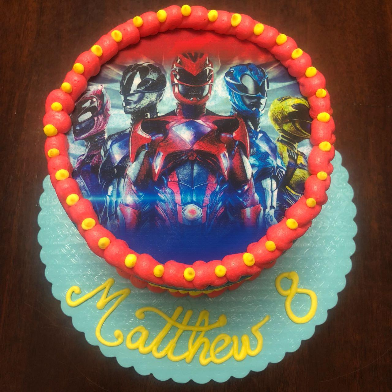 Vanilla Birthday Cake. Boy. Power Rangers. Red, yellow, blue. happy birthday