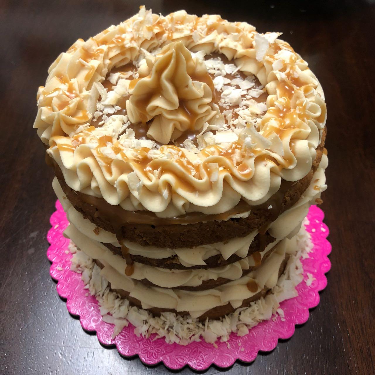 coconut caramel cake. naked cake. celebration cake. birthday cake.