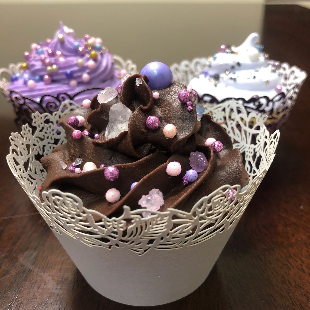 Chocolate Cupcake. Cupcakes. Sprinkles. Purple. Fudge Frosting. Wedding Cupcakes.
