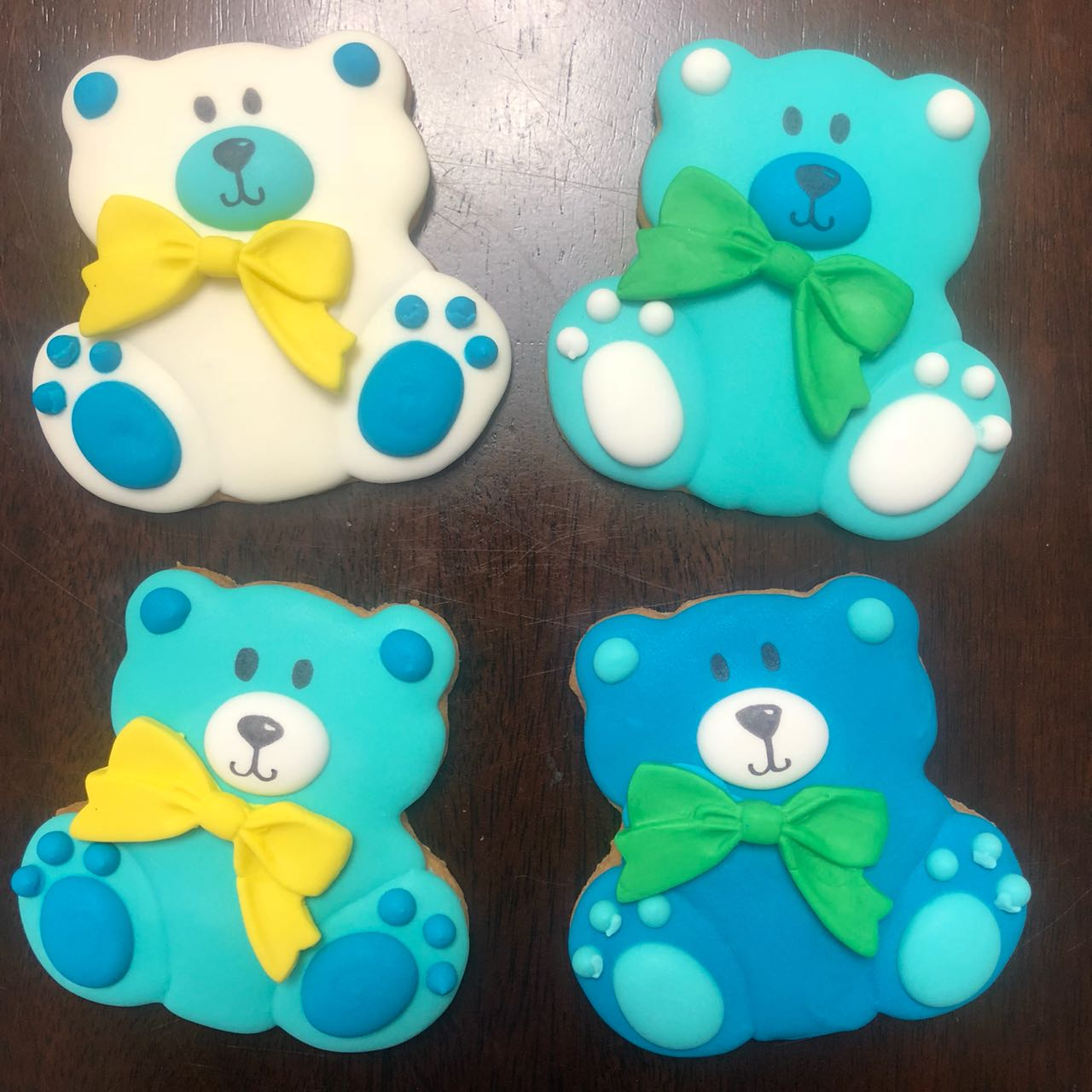 cookie cookies bear teddy bear bow blue white green yellow baby shower royal icing