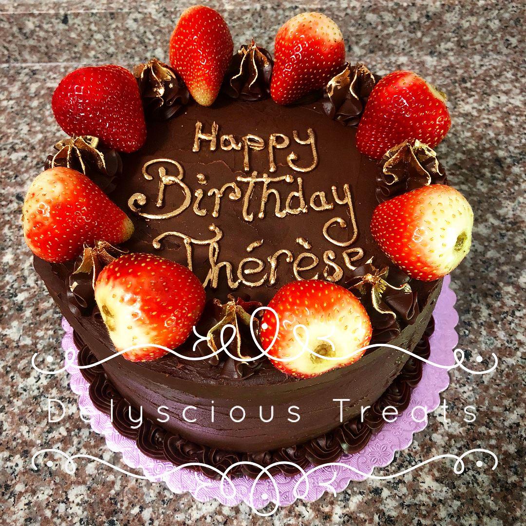 chocolate cake strawberry strawberries gold happy birthday birthday cake