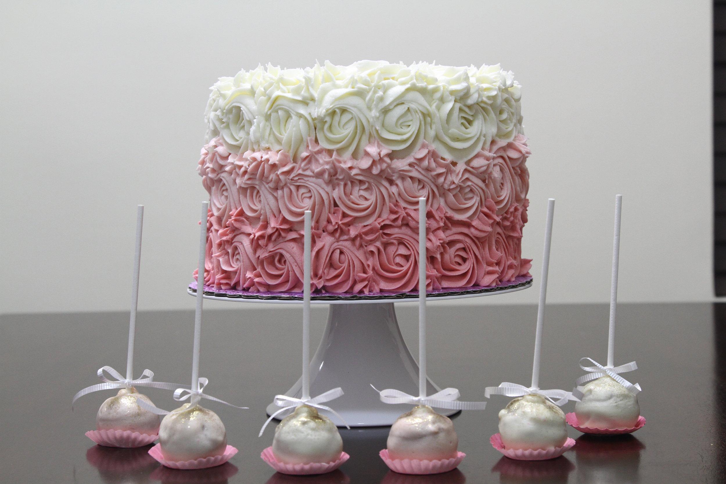 cake pops. cake truffles. pink white ombre. vanilla cake. baby shower. girl.