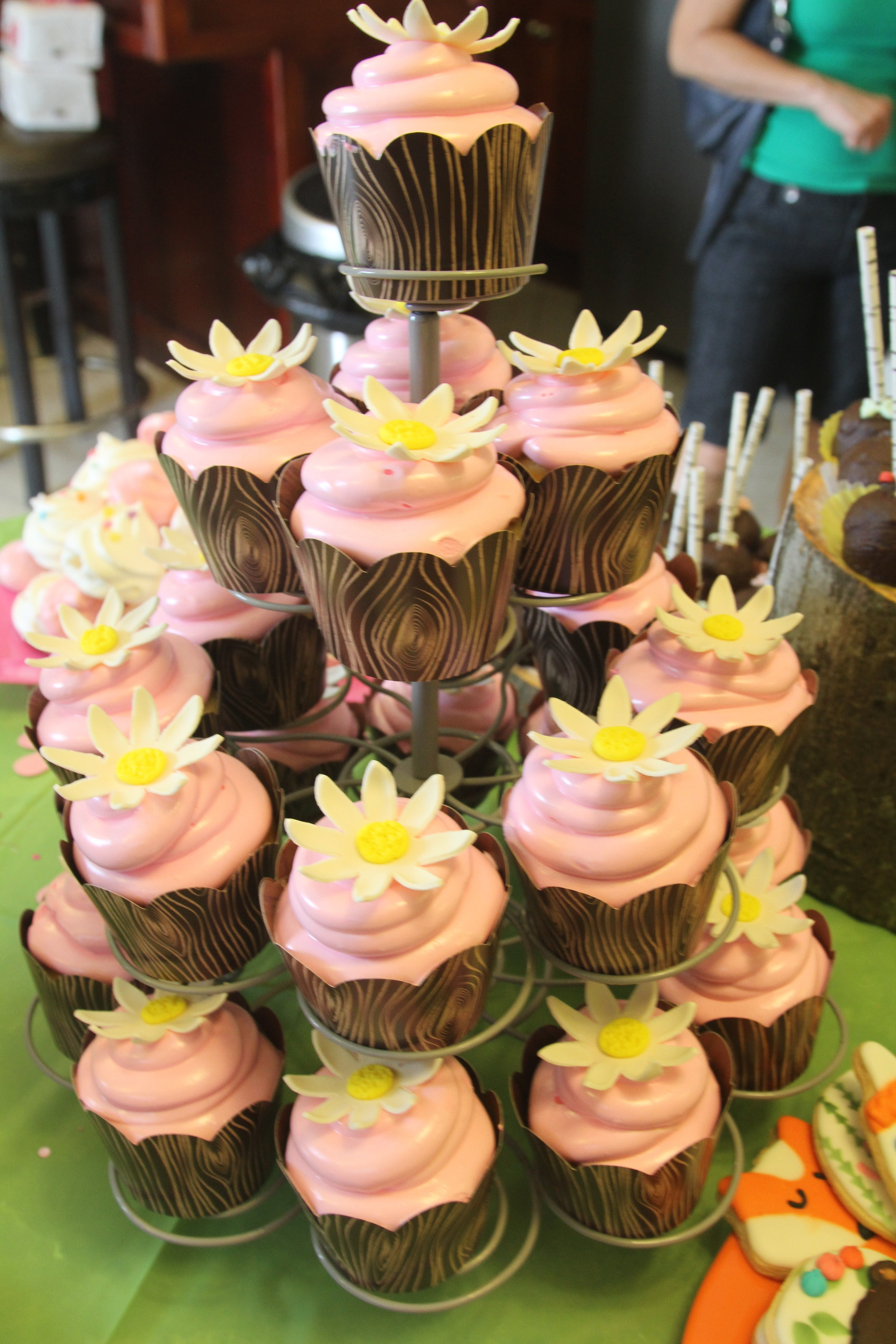 cupcake tower cupcakes pink daisy fondant flower shower party celebrate lemon meringue
