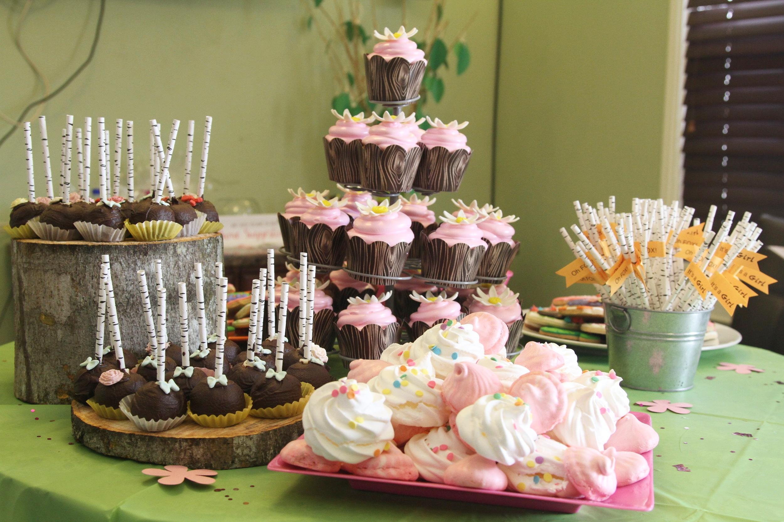 woodland dessert table. meringue cookie cookies cake truffle pop pops cupcakes cupcake lemon meringue