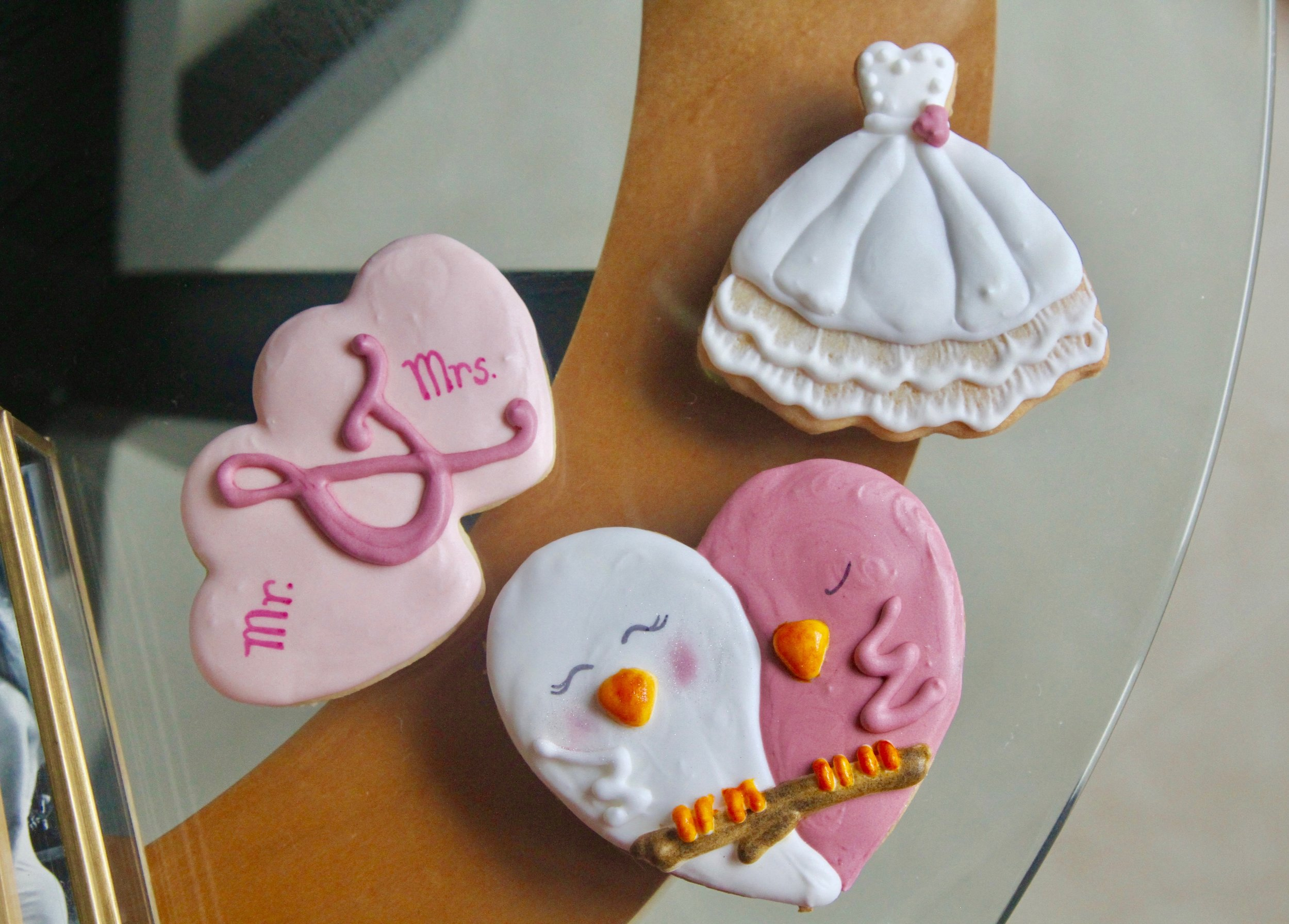 cookie cookies bridal shower wedding royal icing love birds mr and mrs dress royal icing pink white party favor favors