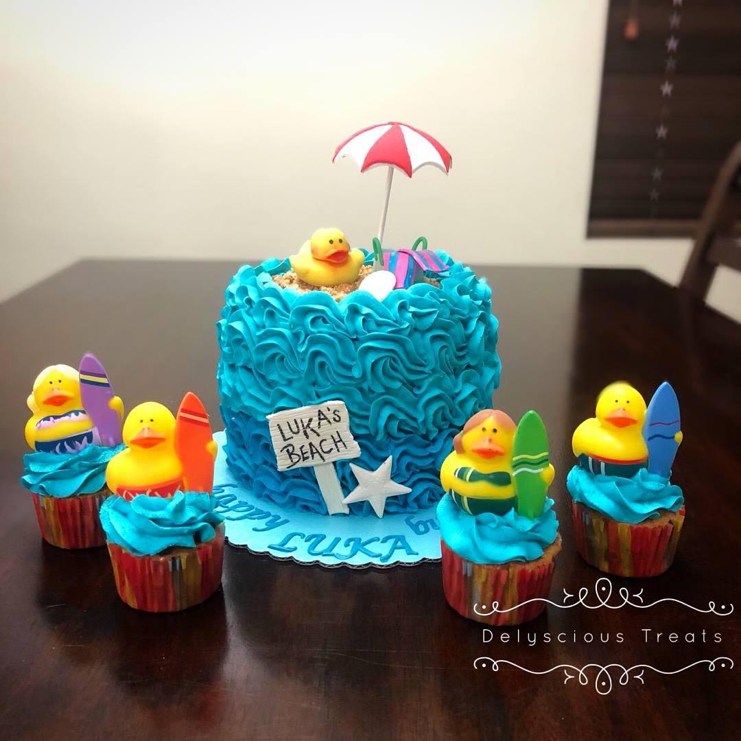 vanilla chocolate buttercream beach bum duck duckies surf surfing umbrella blue ocean starfish cupcake cupcakes cake birthday celebrate