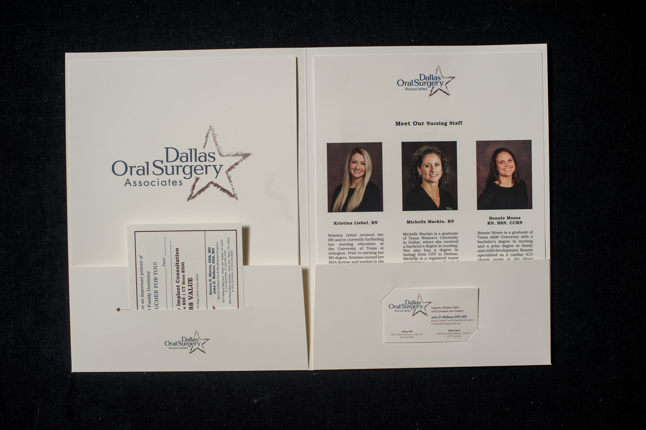 Custom pocket folders we created for Dallas Oral Surgery Associates, allowing them to package a variety of literature for patients and partners.
