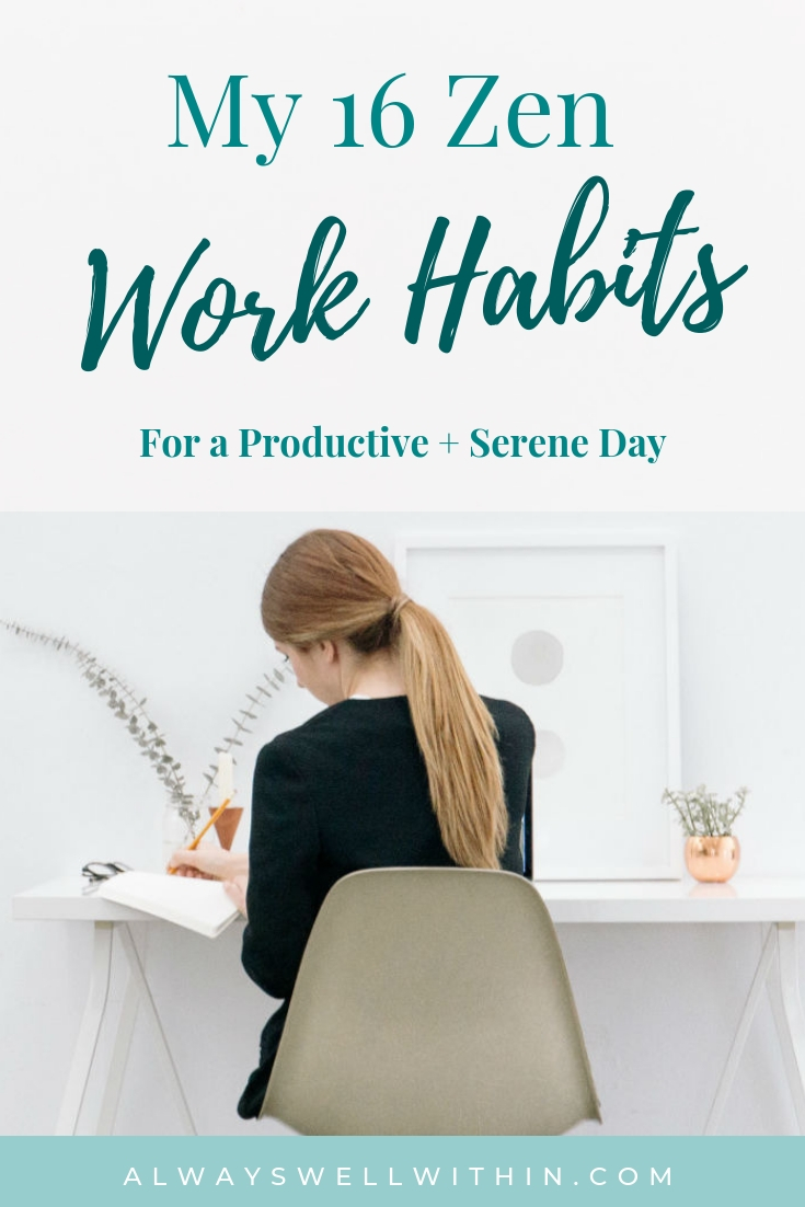 Do you have a set of positive work habits that help you get the most out of your day?  Good work habits can help you be more focused and productive. And they can also help you bring more ease and balance into your day too. Your success or failure in work and in life depends upon your daily habits, doesn't it?  So if you haven't consciously established a set of positive work habits, check out mine for inspiration and ideas. #WorkHabits #Productivity #IntentionalLiving
