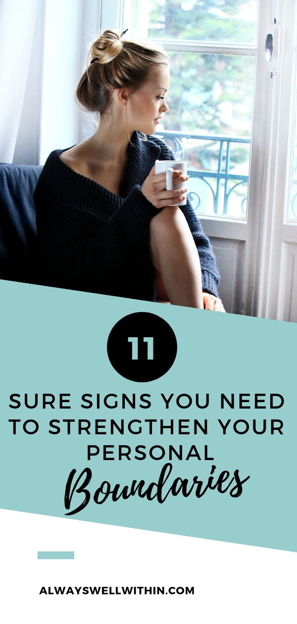 Do you have clear personal boundaries in your relationships at work, you're your parents, in marriage, and in your friendships?  If you're not sure, check out these 11 signs, which indicate you need stronger personal boundaries. And read 4 simple steps you can take to create healthy boundaries and protect yourself from being used, controlled, manipulated, harmed or abused. #boundaries #codependency #relationships #personalgrowth #mentalhealth