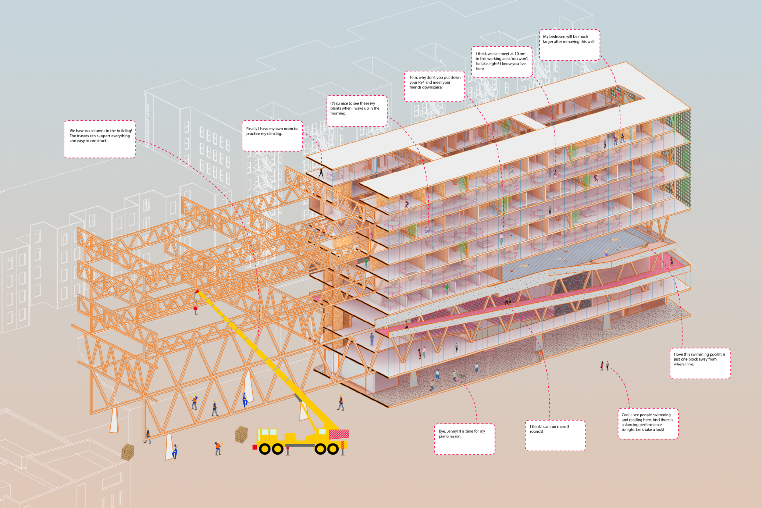 Harlem Redrawing - GSAPP Advanced Summer Studio  Crit:Hilary SampleDate:2017.5-2017.7   Team work with Zhenggu ZhouThis project is set in a New York Harlem liner nabourhood, where blocks are filled with old typed brick condos. The aim of this project is to create a new community typology, mainly a new layered truss structure with a gandient from large span at the bottom changing to smaller span on the top. Hense, different programs are allowed to fixed with proper freedom, and the hierarchy permits the openess to the public and the privacy of the dwellers. On the top, living units also share a shared maker space, as well as a flexible unit configuration allowing for future change.