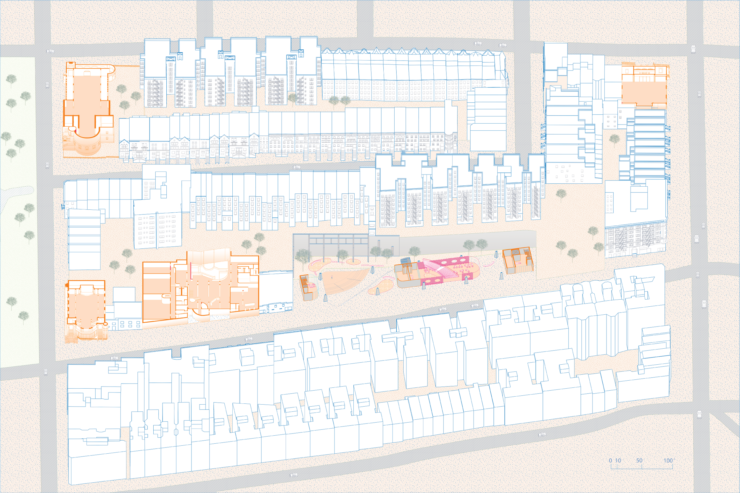 Section, Site Public Space Context/Churches, Harlem School of Art