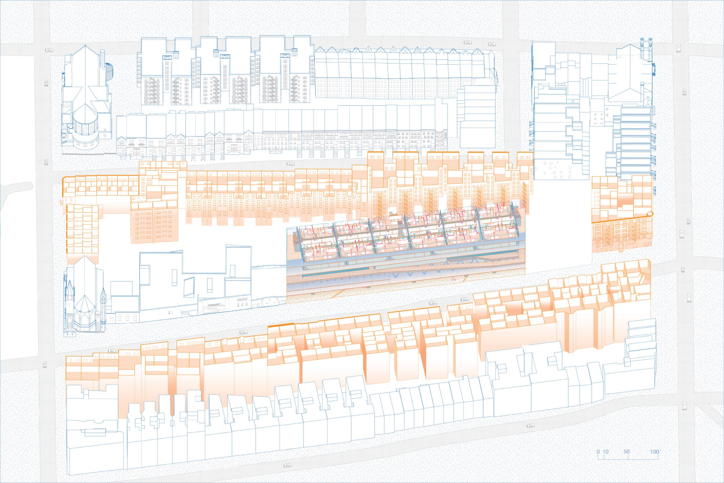 Section, Site Housing Context/Brick Condos, Apartments